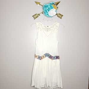 Free People Embroidered Drop Waist Dress Sz Small